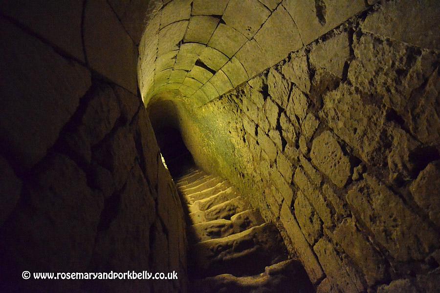 Steps to underground caverns Château de Brézé Loire France