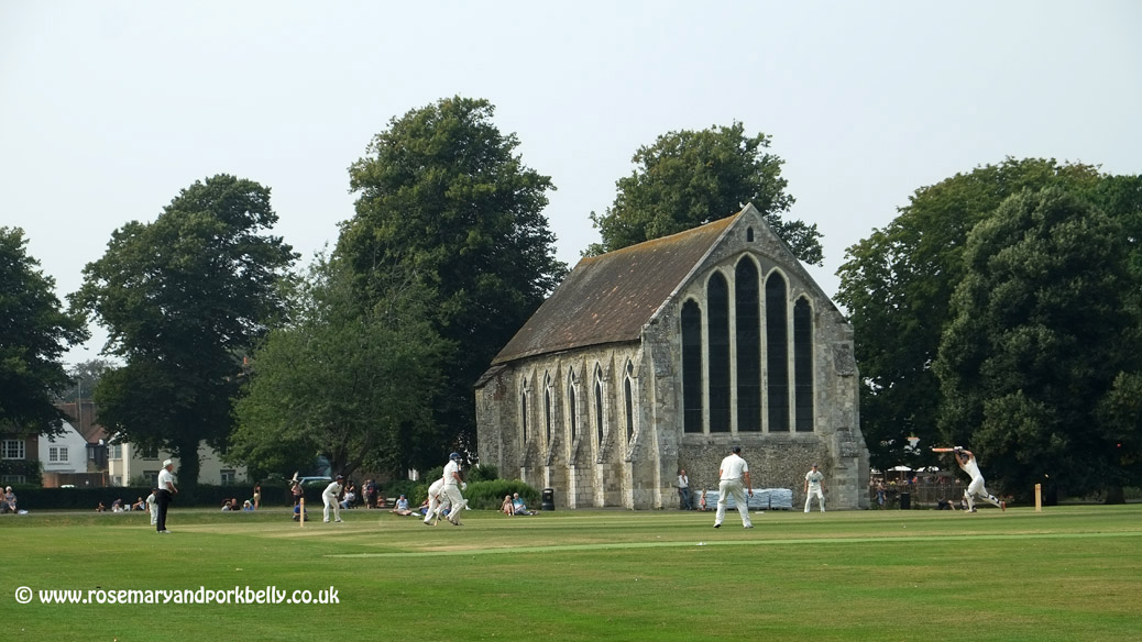Playing cricket near the Guildhall - Priory park Chichester