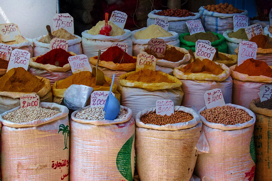Spices in the market place - Morocco