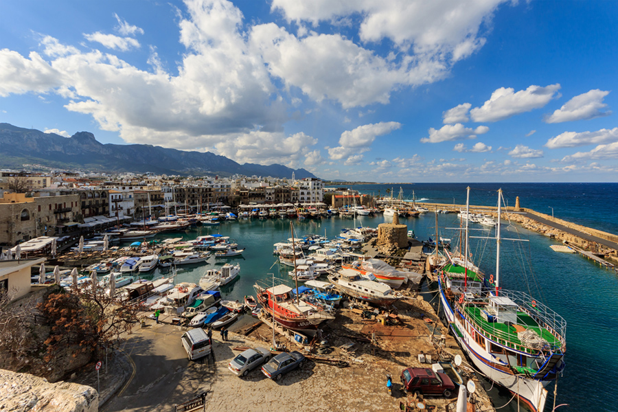 View of the old harbour from the castle in Kyrenia - Northern Cyprus