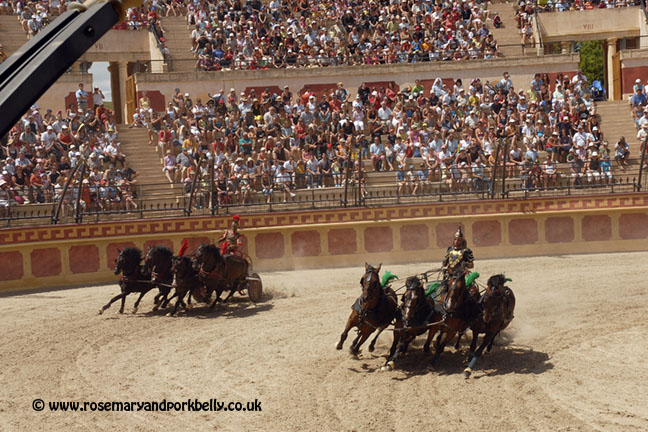 Chariot racing at the Gallo Roman arena - Puy du Fou