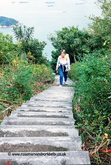 Climbing the steps from Kennedy Town to the youth hostel - Hong Kong 1987