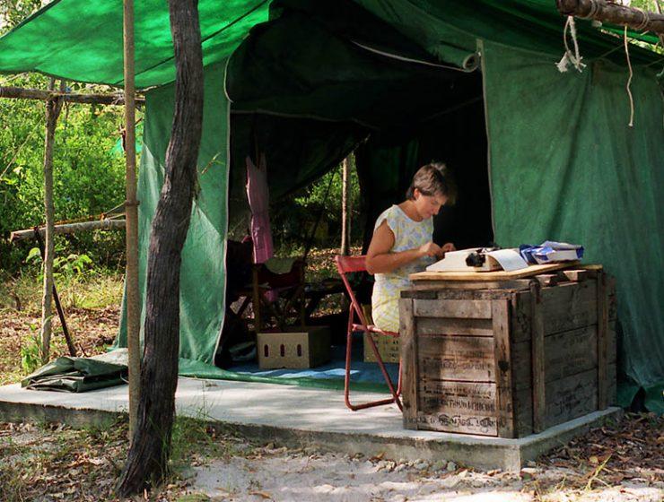 Rosemary using manual typewriter - Punsand Bay Cape York Australia