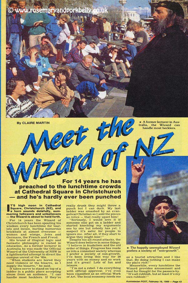 Wizard of Christchurch article for Australasian Post - New Zealand 1988